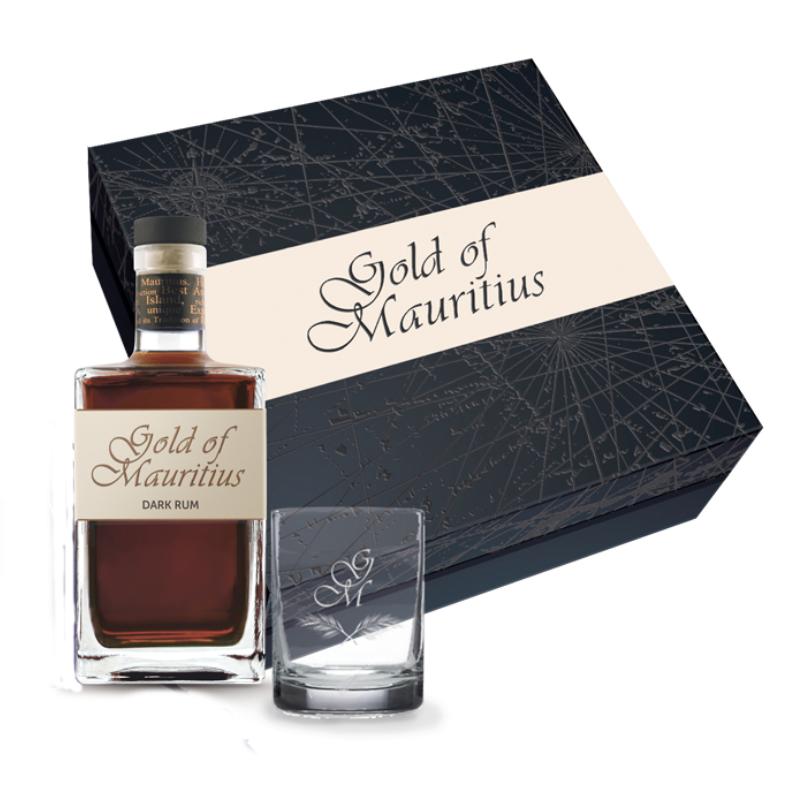 Coffret Rhum Gold of Mauritius + 1 verre gravé GOLD OF MAURITIUS - 1
